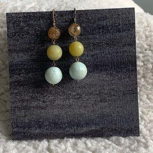 Brown/Green/Blue Glass Bead Dangle Earrings